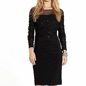 Ralph LAUREN Black Jersey Lace & Sequine